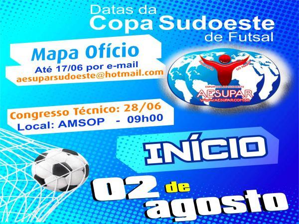 Copa Sudoeste de Futsal começa em agosto
