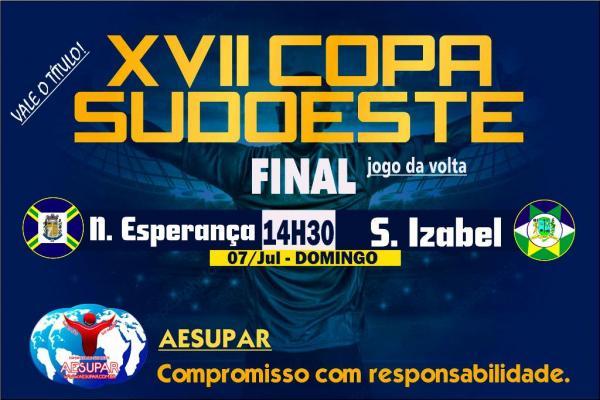 Domingo (07) conheceremos o campeão da XVII Copa Sudoeste de Futebol 2019