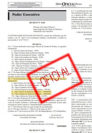 Jogos promovidos pela AESUPAR são declarados Oficiais pelo Governo do Paraná