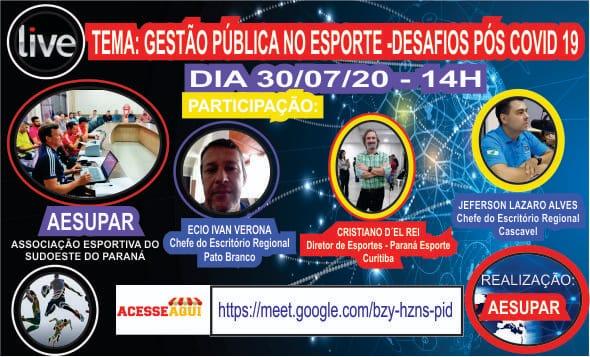 Aesupar promove Videoconferência sobre Gestão Pública no Esporte - Desafios Pós Covid-19.