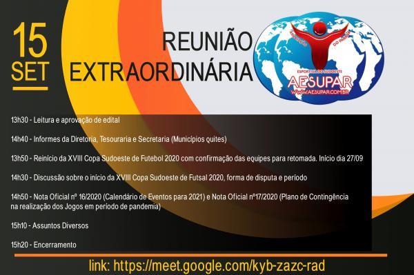 AESUPAR promoverá reunião Dirigentes Esportivos no próximo dia 15 de setembro