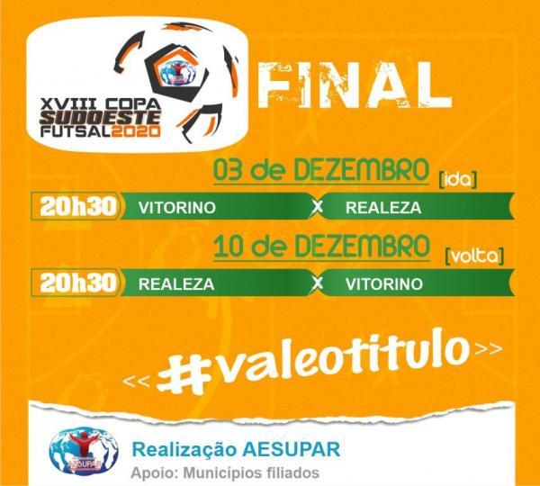 Vitorino e Realeza vão decidir o título da XVIII Copa Sudoeste