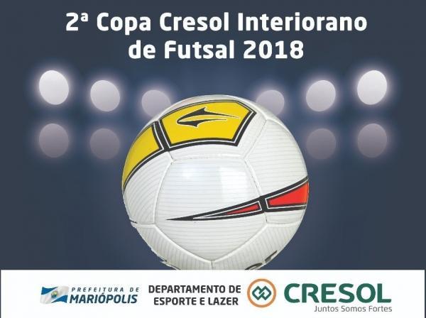 Nesta sexta (13) tem a 2ª rodada da Copa Cresol Interiorano de Futsal 2018