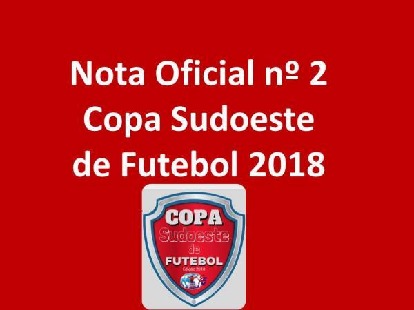 Nota oficial esclarece sobre acumulo de função atleta/dirigente na Copa Sudoeste de Futebol