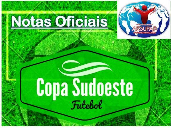 AESUPAR emite três Notas Oficias referentes ao andamento da Copa Sudoeste de Futebol