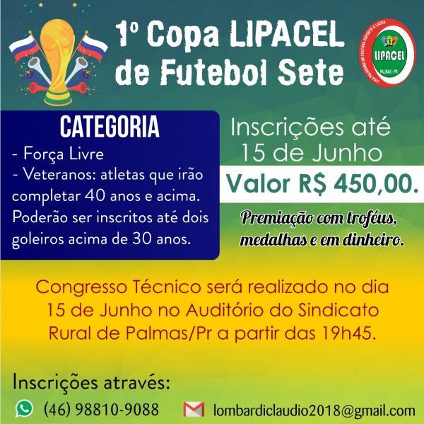 Abertas as inscrições da 1ª Copa LIPACEL de Futebol Sete em Palmas