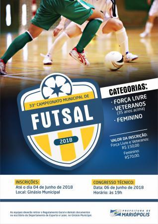 Abertas as inscrições para o 33º Campeonato Municipal de Futsal de Mariópolis