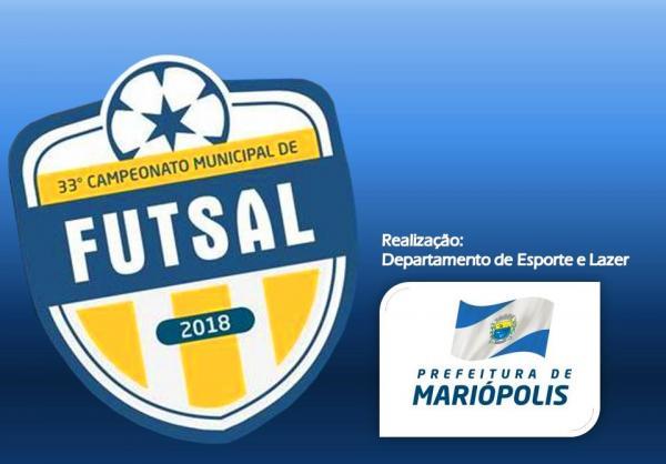Goleadas marcaram o início da 33ª edição do Campeonato Municipal de Futsal 2018