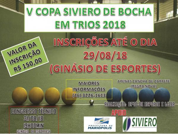 Abertas as inscrições para o V Campeonato Municipal de Bocha em Trios 2018
