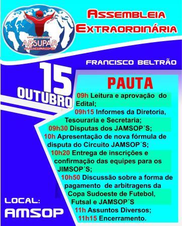 AESUPAR convoca associados para Assembleia Extraordinária em Francisco Beltrão