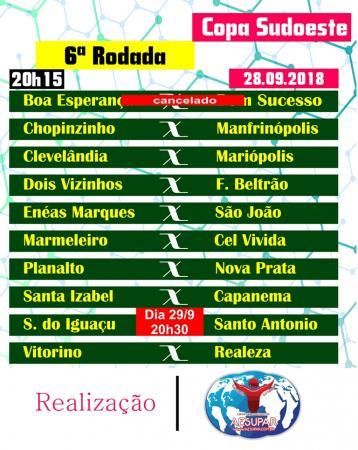 Nesta sexta-feira (28) e sábado têm a última rodada da 1ª fase da Copa Sudoeste de Futsal