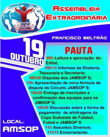 AESUPAR adia data da Assembleia Extraordinária em F. Beltrão para o dia 19 de outubro