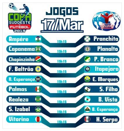 No próximo domingo (17) inicia a Copa Sudoeste de Futebol 2019